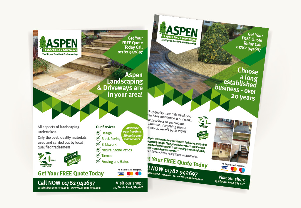 Aspen Landscapes Sales Leaflet Design